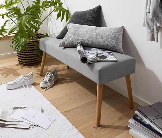 Polstrovaná lavice, šedá