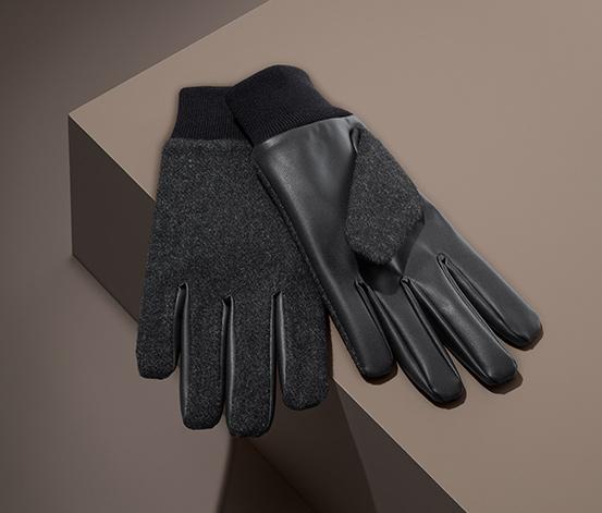 Rękawice męskie z wełną i imitacją skóry