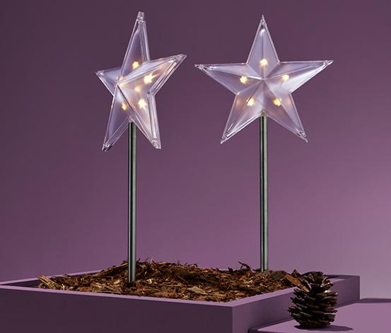 2 leszúrható LED-es csillag szettben, kültéri
