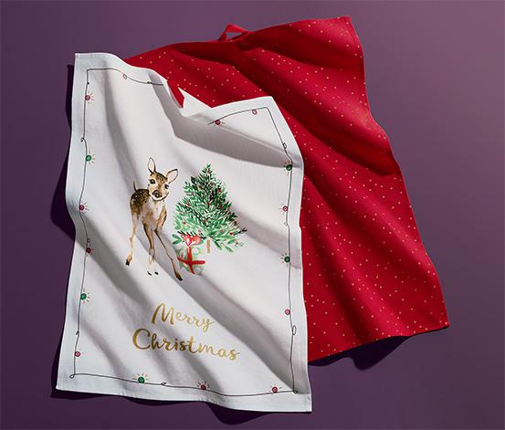 Świąteczne ściereczki do naczyń z bawełny ekologicznej, 2 sztuki