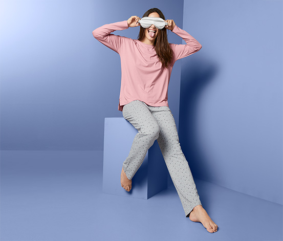 Női pizsama, pöttyös, rózsaszín/szürke