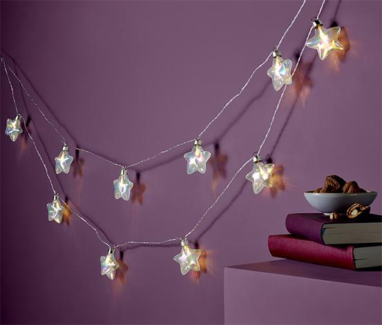 LED-es égősor, 10 üveg csillag