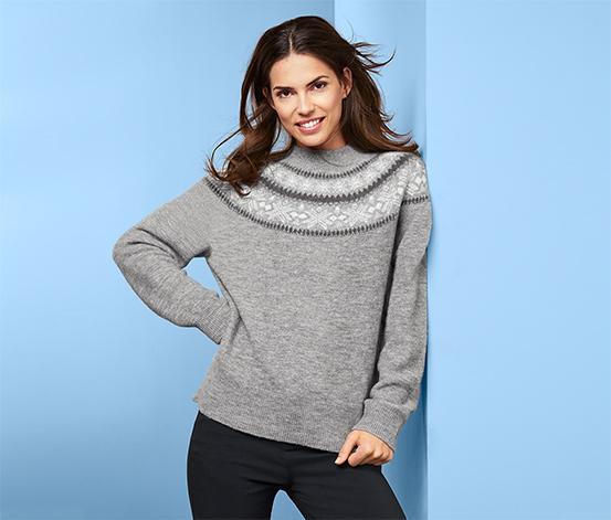 Női norvégmintás kötött pulóver