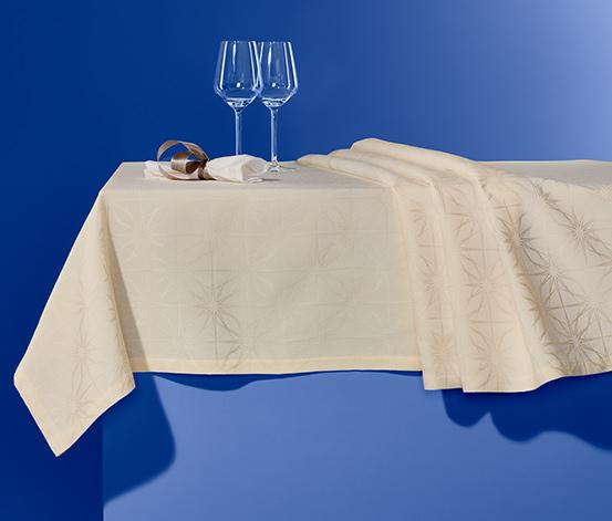 Jacquard asztalterítő, 10 személyes, krém