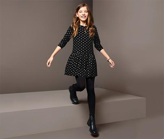 Lány jerseyruha, fekete, pöttyös