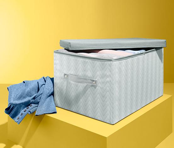 Úložný box s víkem, šedý