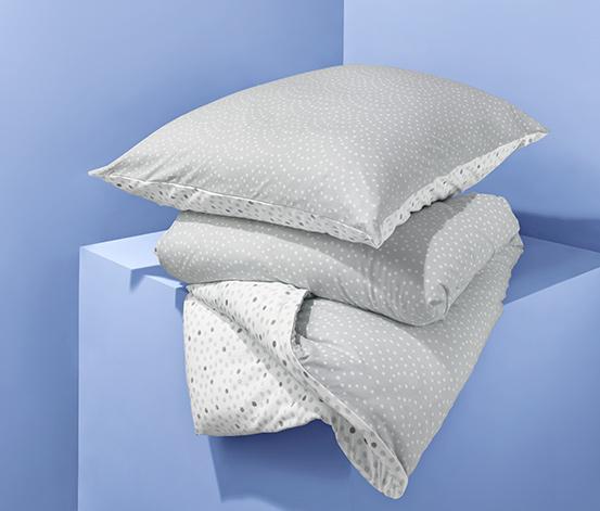 Kétoldalas jersey ágynemű, pöttyös, szürke, egyszemélyes