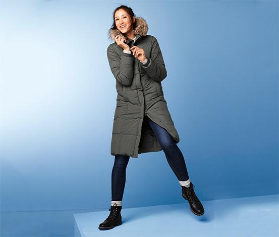 Női steppelt kabát, khaki