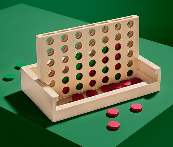 """Dřevěná hra """"Čtyři v řadě"""""""
