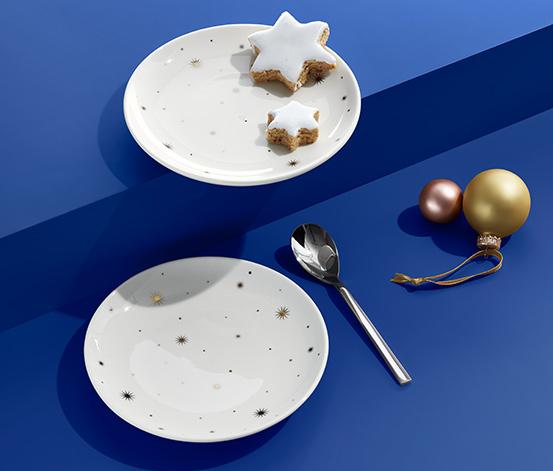2 desserttallrikar med gulddekor