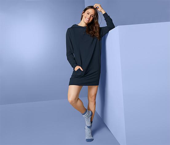 Női hosszú lezser pulóver, sötétkék