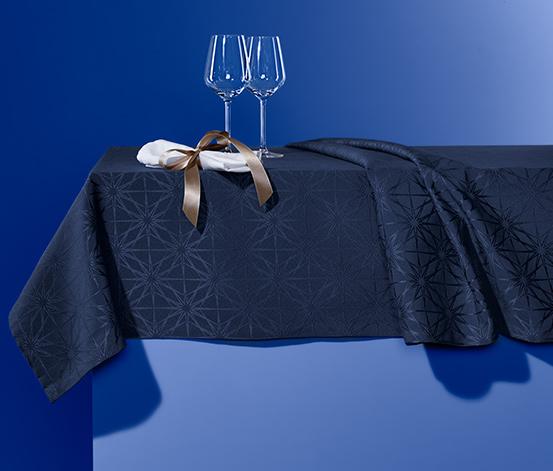 Jacquard asztalterítő, 10 személyes, sötétkék
