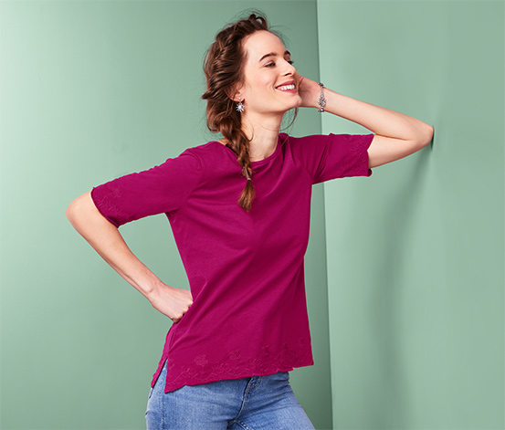 Bluzka z półdługim rękawem i haftem, z bawełny ekologicznej