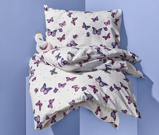 Detská posteľná bielizeň renforcé, s potlačou s motívom motýľov