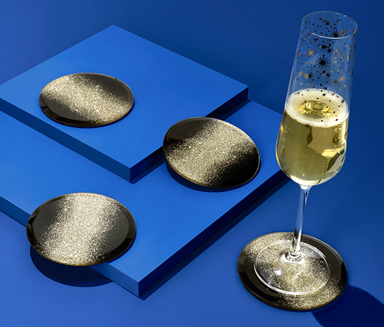 4 dekorative Glasuntersetzer