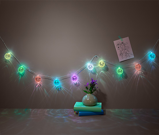 Světelný řetěz s LED a disko koulemi