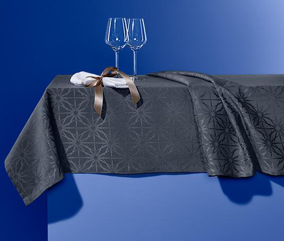 Jacquard asztalterítő, 10 személyes, antracit