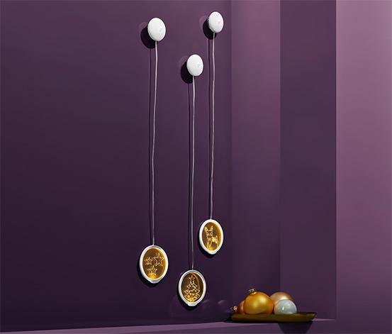 3 LED-es akrilfüggő szettben, karácsonyi minták