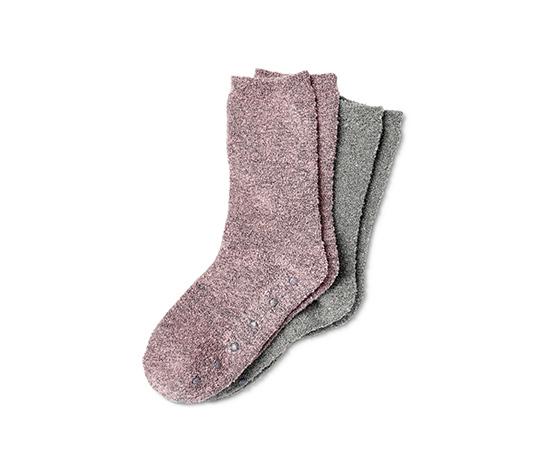 2 pár női puha zokni, szürke/rózsaszín