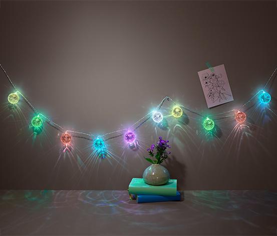 LED-es égősor, 10 diszkógömb, színes
