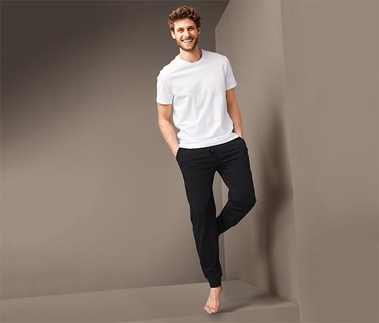 Męskie, czarne spodnie dresowe z bawełną