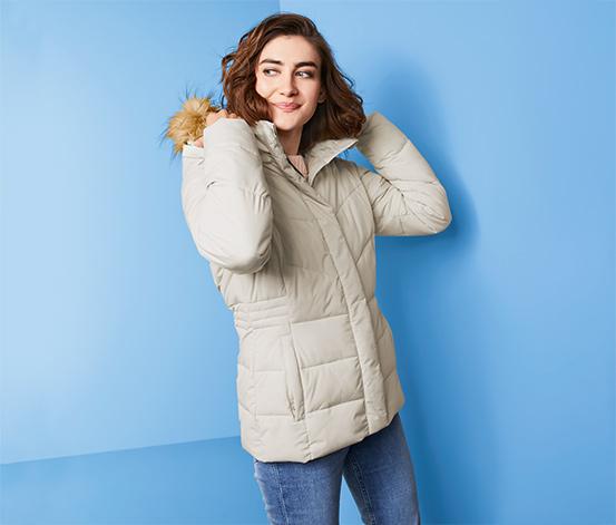 Női steppelt rövid kabát, fehér