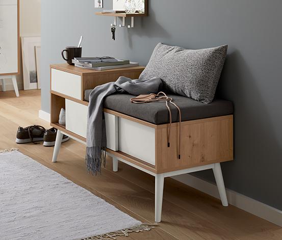 Tapicerowana ławka z półką na buty z litego drewna bukowego