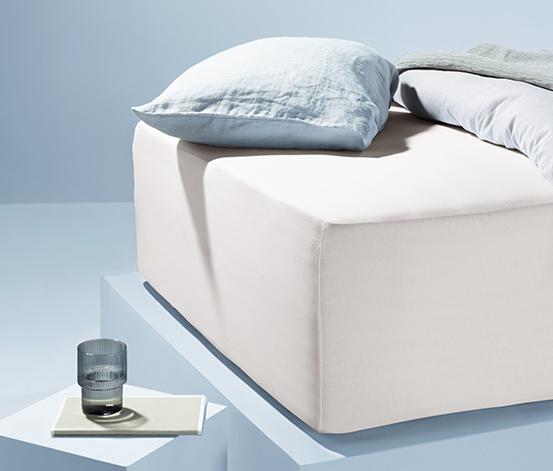 Białe prześcieradło dżersejowe z gumką, na grube materace 180-200 x 200 cm