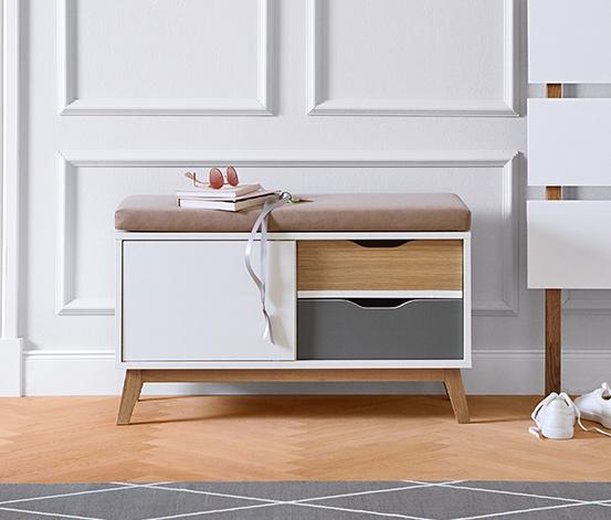Polstrovaná lavice se 2 zásuvkami