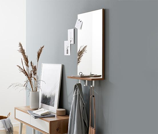 Zrcadlo s odkládací plochou a háčky