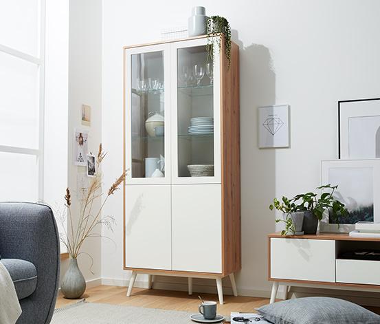 2-drzwiowa witryna ze szklanymi drzwiami, dekor dębowy