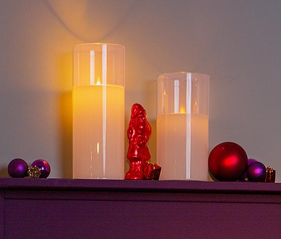 2 LED-Echtwachskerzen im Glas