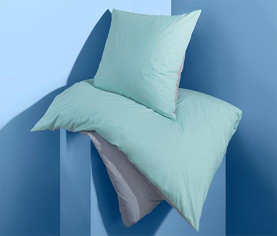 Kétoldalas perkál ágynemű, kék, egyszemélyes