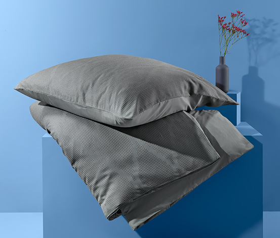 Kétoldalas piké ágynemű, rácsmintás, kétszemélyes