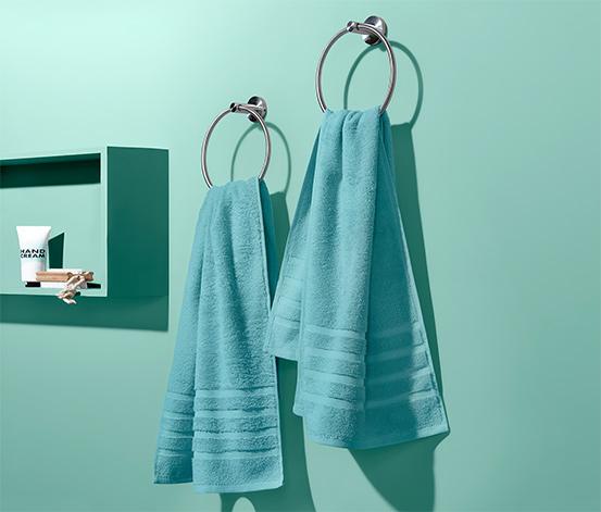 Ręczniki frotte z bawełny ekologicznej, turkusowe, 2 sztuki