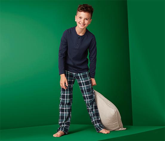 Fiú pizsama, kockás, sötétkék