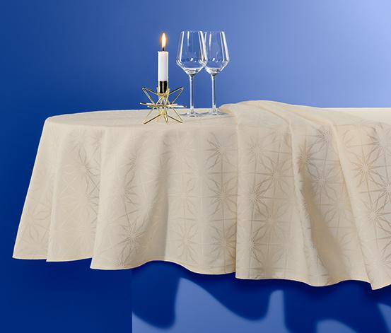 Jacquard asztalterítő, ovális, krém