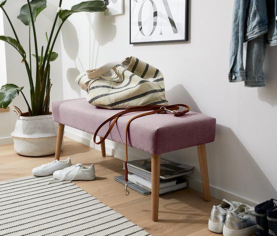 Ławka tapicerowana, różowa