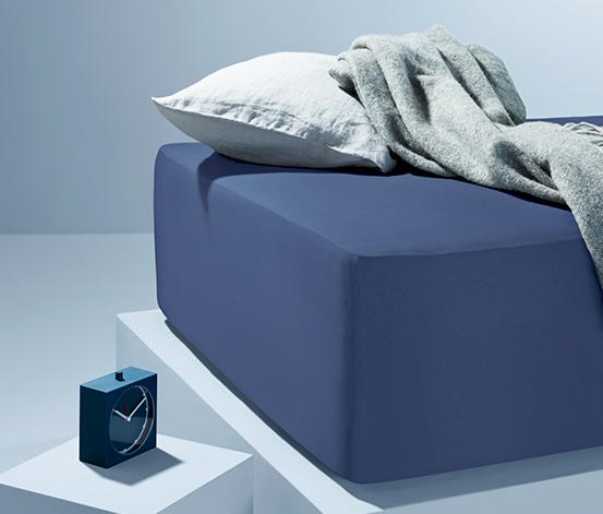 Niebieskie prześcieradło dżersejowe z gumką, na materace 90-100 x 190-200 cm
