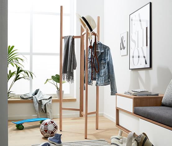 Wieszak stojący na ubrania z litego drewna dębowego z certyfikatem FSC®