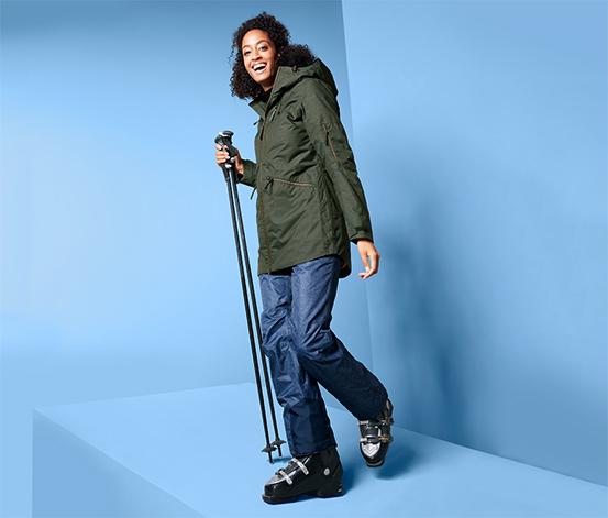 Női sí- és snowboardkabát, khaki