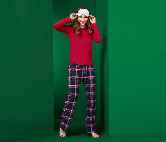 Női pizsama, piros/kockás