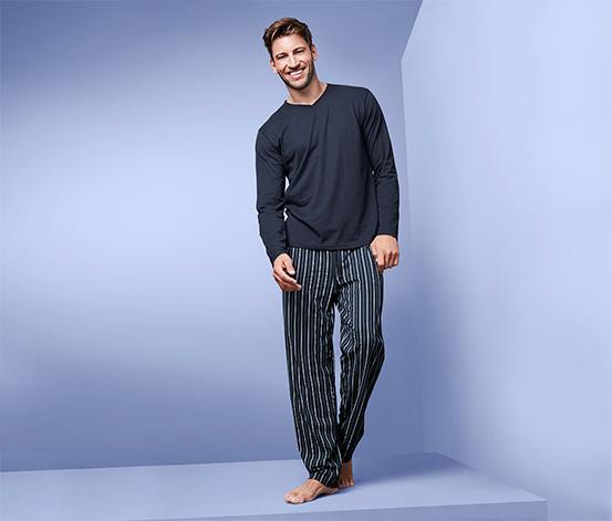 Férfi pizsama, csíkos, kék