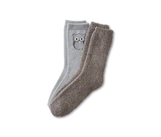 2 pár puha női zokni szettben, baglyos, szürke