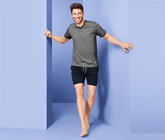 Férfi rövidnadrágos pizsama, szürke/kék