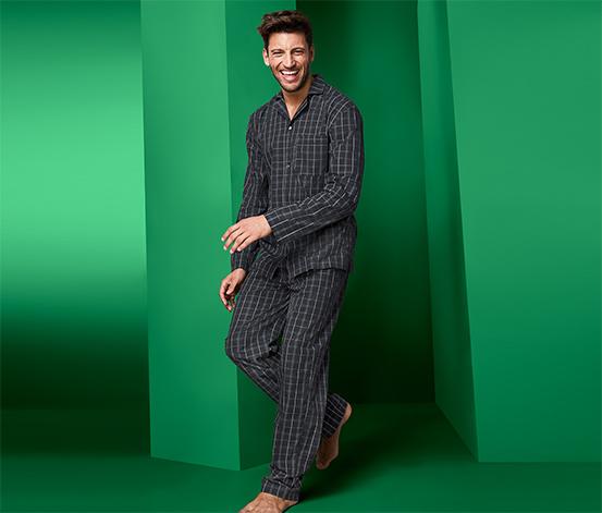 Férfi szövött pizsama, sötétszürke, kockás