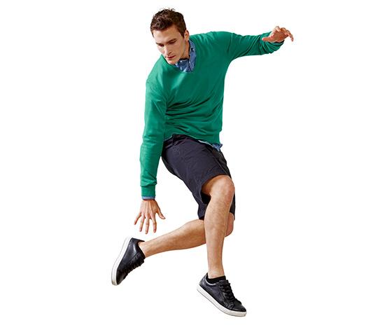 Férfi V-nyakú pulóver, zöld