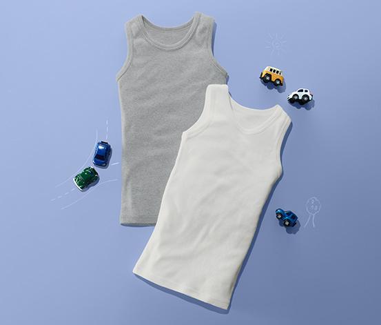 2 fiú trikó szettben, szürke/fehér