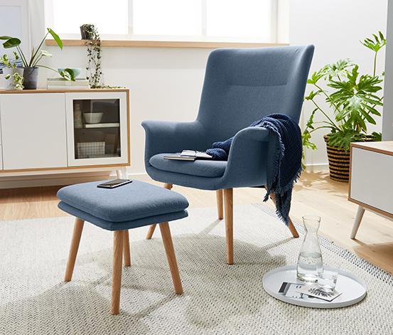 Tapicerowany fotel z podnóżkiem z litego dębu