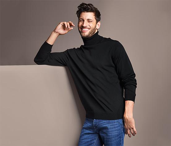 Męski sweter z golfem z wełny merino